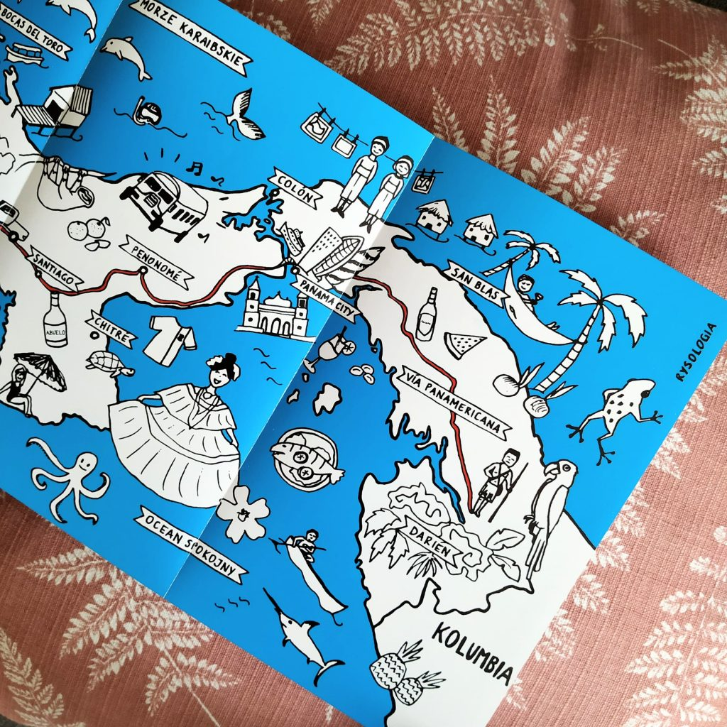 Rysunkowa mapa Panamy załączona do książki Sekrety Panamy